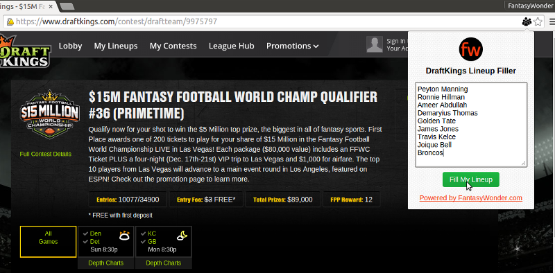 Screenshot of our DraftKings Lineup Filler Google chrome extension